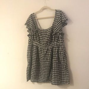 ModCloth gingham flutter sleeve dress size 3X